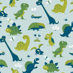 Kinderkamer-behang-dinosaurus-blauw-Bora-Illustraties