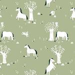 Kinderkamer-behang-paarden-groen-Bora-Illustraties
