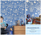 Kinderkamer-behang-Majvillan-Dragon-Dark-Blue-kamer