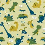 Kinderkamer-behang-dinosaurus-geel-Bora-Illustraties