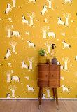 Kinderkamer-behang-paarden-mosterdgeel-Bora-Illustraties-inrichting