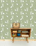 Kinderkamer-behang-paarden-groen-Bora-Illustraties-kamer