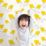 Kinderkamer-behang-Lavmi-Kuikentjes-geel-kamer
