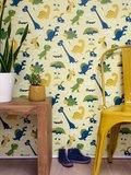 Kinderkamer-behang-dinosaurus-geel-Bora-Illustraties-kamer