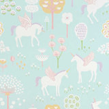 Majvillan-Kinderkamer-behang-True-Unicorns-Turquiose-Patroon-Vierkant