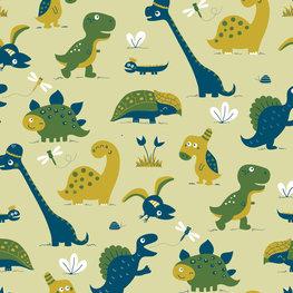 Bora behang Dinosaurus - groen