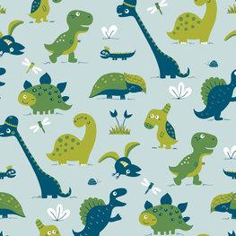 Bora behang Dinosaurus - blauw