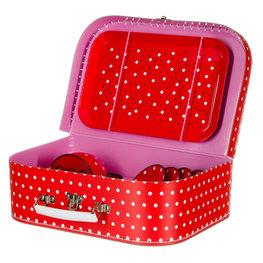 Koffer met theeservies rood