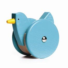 Houten wiebel kip - blauw