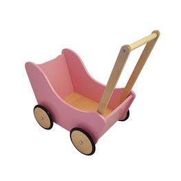 Houten loopwagen roze