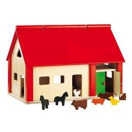 Grote houten boerderij met speelfiguren