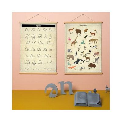 Retro schoolplaat Alfabet - poster op houten rol