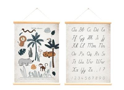 Retro schoolplaat Alfabet & Wilde dieren - Poster op houten rol