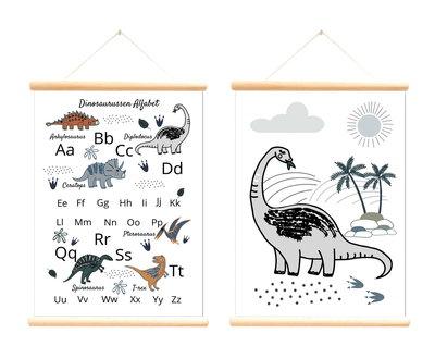 Retro schoolplaat Dinosaurussen Alfabet - Poster op houten rol