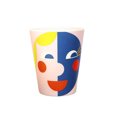 Global Affairs Bamboe beker - Faces - Yellow Blue