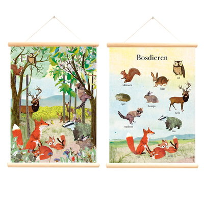 Retro schoolplaat Bosdieren - Grootzus - Poster op houten rol