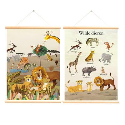 Retro schoolplaat Wilde Dieren - Grootzus - Poster op houten rol
