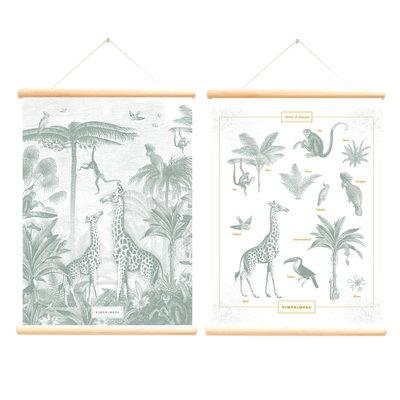 Retro schoolplaat Giraf en Aapjes - Pimpelmees - Poster op houten rol