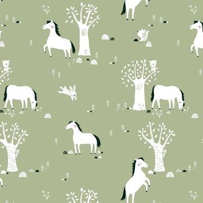 Bora behang Paarden - groen