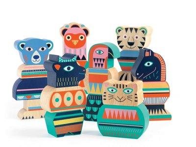 Djeco houten stapelblokken 'Ze Tribu'