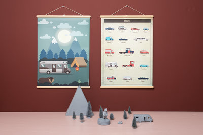 Retro schoolplaat Auto's - poster op houten rol