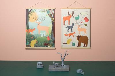 Retro schoolplaat Bosdieren - Poster op houten rol