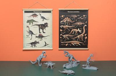 Retro schoolplaat Dinosaurussen - Poster op houten rol