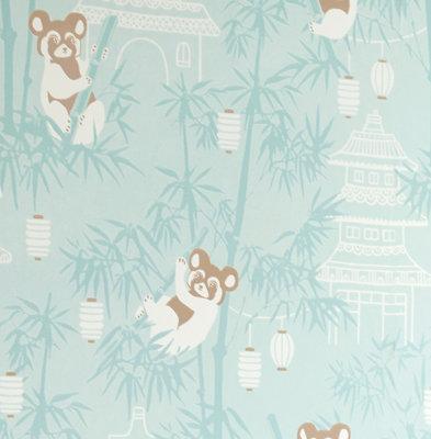Behang Majvillan Bambu Turquoise
