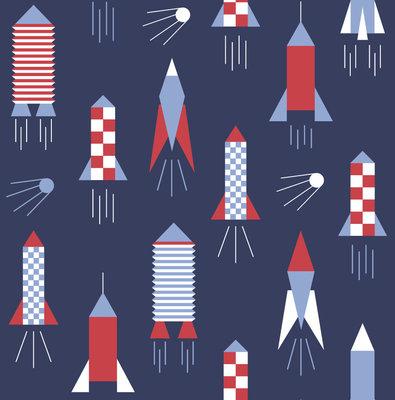 Behang Lavmi Raketten - donkerblauw