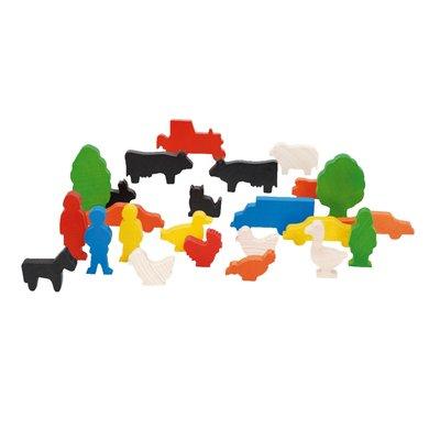 Houten boerderijdieren (24 stuks)