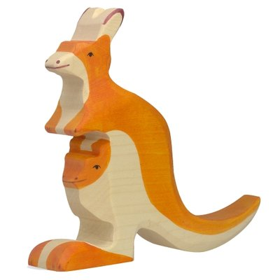 Houten Kangaroo met jong