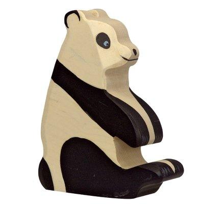Houten Pandabeer zittend
