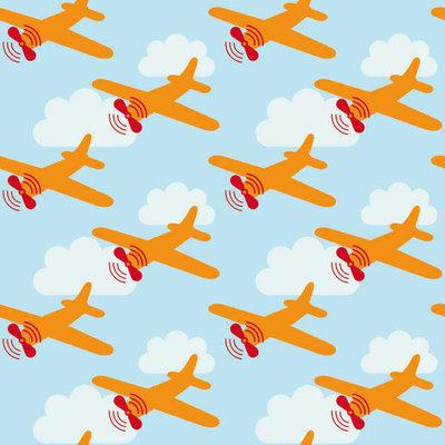 Behang Lavmi Vliegtuigen - lichtblauw