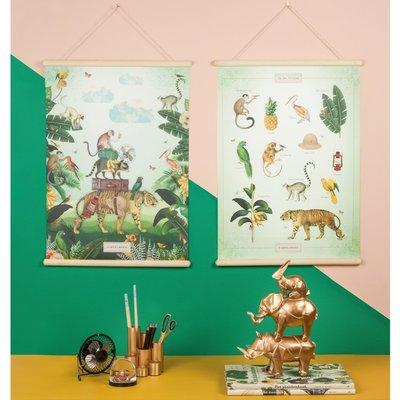Retro schoolplaat In de tropen Pimpelmees ontwerp