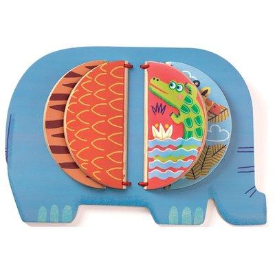Djeco Moussa het olifantje - houten boekje