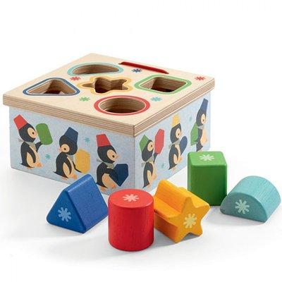 Djeco houten vormenstoof pinguïn