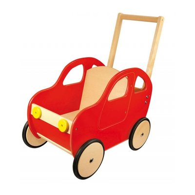 Houten loop- en poppenwagen cabrio