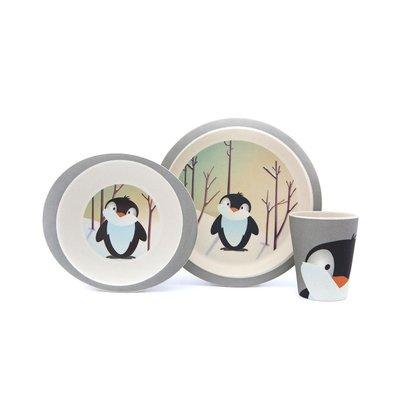 Yuunaa bamboe servies Pinguïn