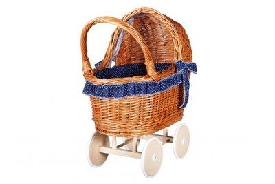 Rieten-poppenwagen-blauw-met-witte-stippen-zijkant