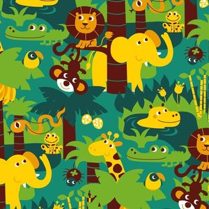 Kinderkamer-behang-Jungle-Bora-Illustraties