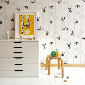 Kinderkamer-behang-luiaards-Bora-Illustraties
