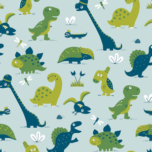 Kinderkamer-behang-dinosaurus-blauw-Bora-Illustraties