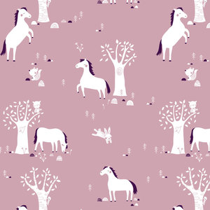 Kinderkamer-behang-paarden-mauve-Bora-Illustraties