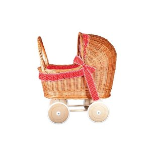 Rieten-poppenwagen-rood-met-witte-stippen-zijkant