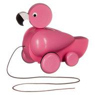 Houten-trekfiguur-roze-flamingo